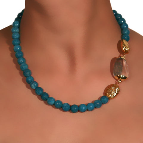 Blue Onyx string with side Quartz pendant and micro plated Gold beads 2