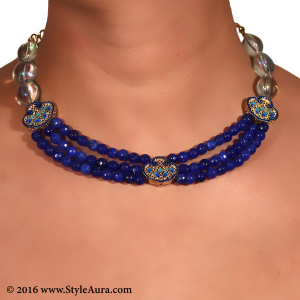 Blue Onyx three layer Choker with Meenakari Gold and clear Quartz 2