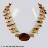 Brown Agates Choker and side Cezete beads 1