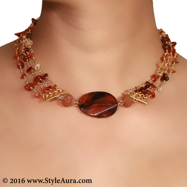 Brown Agates Choker and side Cezete beads 2