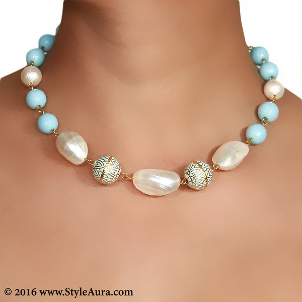 Choker in Blue Meenakari White Shell and Blue Onyx 2