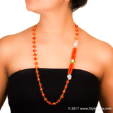 StyleAura - Clear Quartz long length necklace with Orange Onyx and Polki