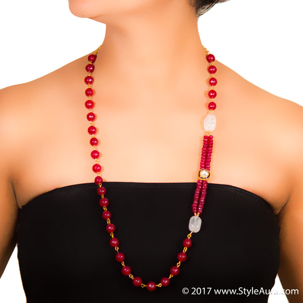 StyleAura - Clear Quartz long length necklace with Ruby Red Onyx and Polki
