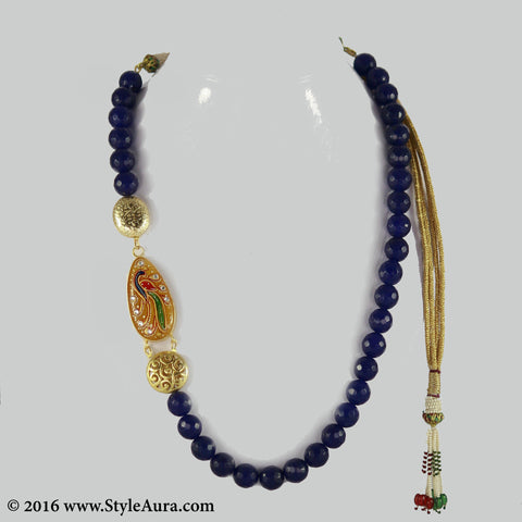 Dark Blue Onyx with side Kundan Meenakari hand painted Peacock on Amber stone pendant 1