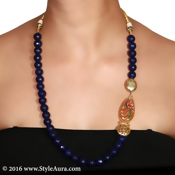 Dark Blue Onyx with side Kundan Meenakari hand painted Peacock on Amber stone pendant 2