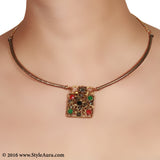 Delicate Copper Hasli with a Semi Precious stone studded pendant 2