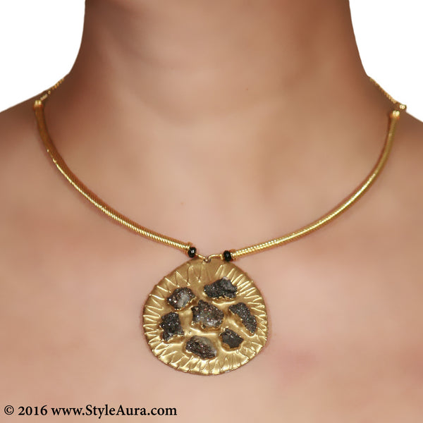 Delicate Gold Hasli with Black Druzy pendent 2