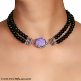 Double layer Black Onyx Choker with center Purple Druzy stone pendant embellished with Zercons 2