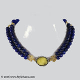 Double layer Blue Onyx Choker with center Yellow Druzy stone pendant embellished with Zercons 1