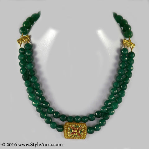 Double layer Green Onyx Choker with center Amber pendant with Meenakari art 1