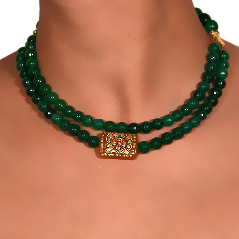 Double layer Green Onyx Choker with center Amber pendant with Meenakari art 2