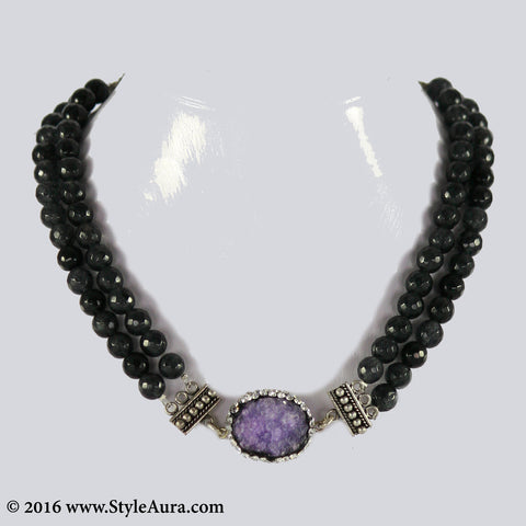 Double layer Grey Onyx Choker with center Purple Druzy stone pendant embellished with Zercons 1