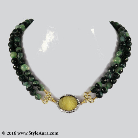 Double layer shaded Onyx Choker with center Yellow Druzy stone pendant embellished with Zercons 1