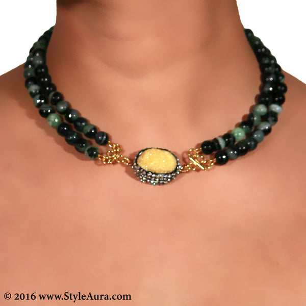 Double layer shaded Onyx Choker with center Yellow Druzy stone pendant embellished with Zercons 2