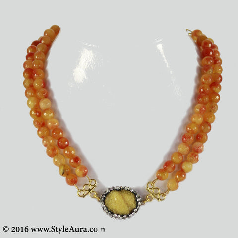 Double layer shaded Orange Onyx Choker with center Yellow Druzy stone pendant embellished with Zercons 1