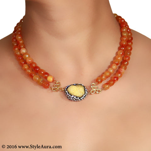 Double layer shaded Orange Onyx Choker with center Yellow Druzy stone pendant embellished with Zercons 2