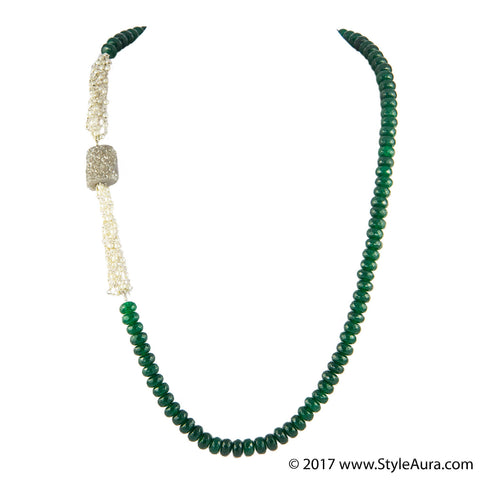 StyleAura - Druzy necklace with Pearl bunch and emerald Green Onyx