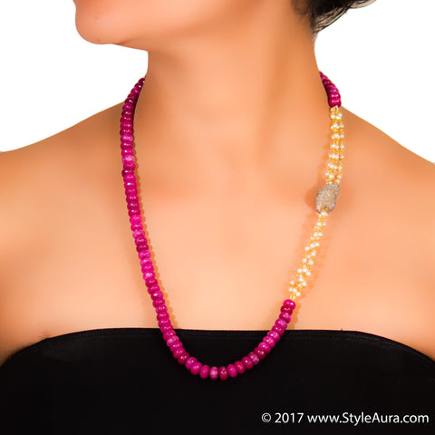 StyleAura - Druzy necklace with Pearl bunch and shaded Pink Onyx