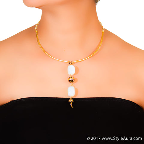 StyleAura - Gold Hasli with Moonstones and black Meenakari drops