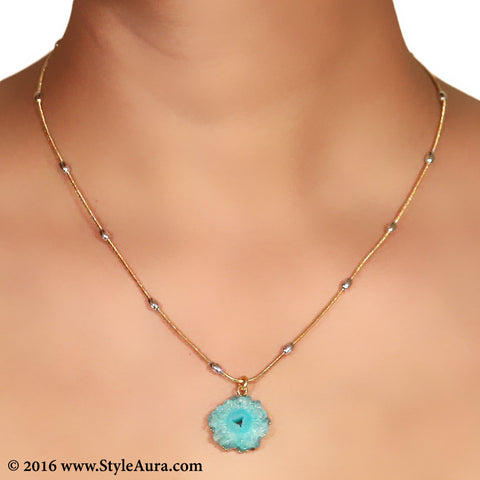 Gold chain with Silver balls and center Blue Druzy 2