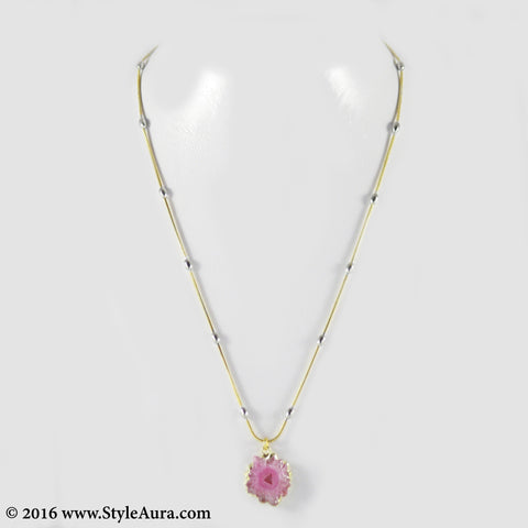 Gold chain with Silver balls and center Pink Druzy 1