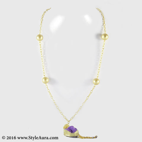 Gold chain with textured Gold Pearls and Purple Druzy with hanging Gold chain 1