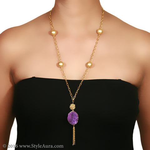 Gold chain with textured Gold Pearls and Purple Druzy with hanging Gold chain 2