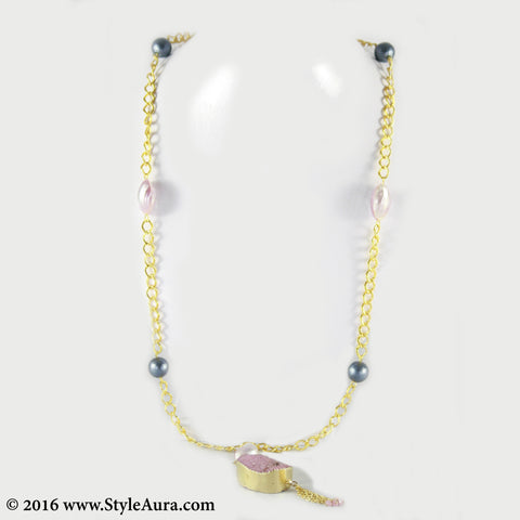 Gold chain with textured Grey Pearls and Pink shell and Druzy 1