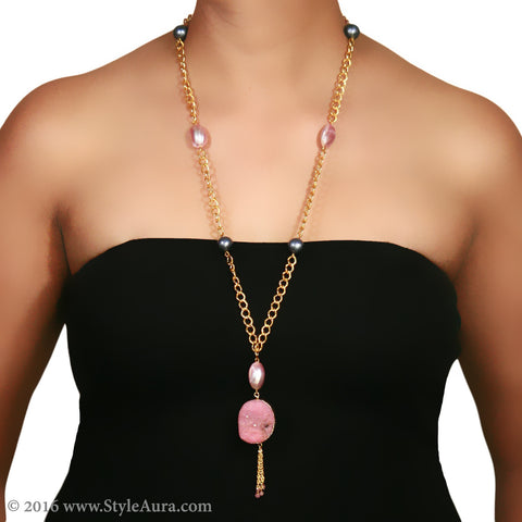 Gold chain with textured Grey Pearls and Pink shell and Druzy 2
