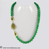 Green Onyx string with side Gold plated beads with Kundan Meenakari Agate stone 1