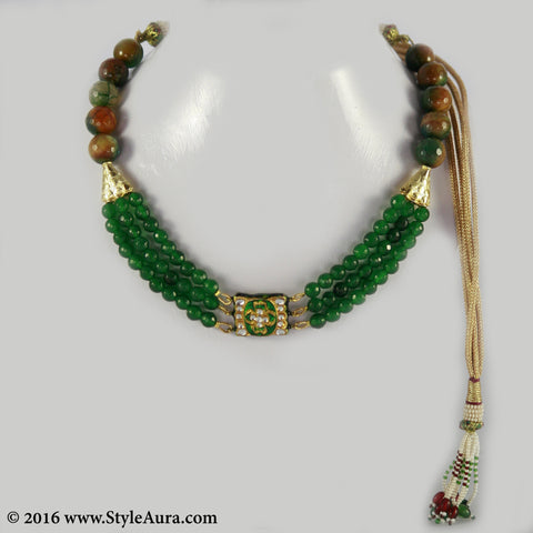 Green and Brown shaded Onyx three layer Choker with center delicate Kundan Meenakari pendant 1