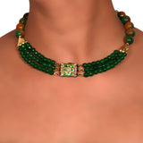 Green and Brown shaded Onyx three layer Choker with center delicate Kundan Meenakari pendant 2