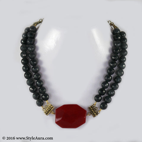 Grey Onyx two layer Choker with Red Agate and antique Coper attachments 1