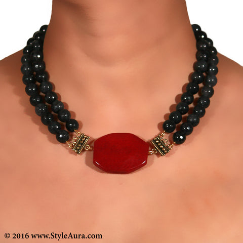 Grey Onyx two layer Choker with Red Agate and antique Coper attachments 2