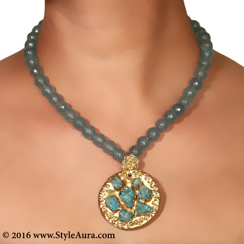Light Blue Quartz with Druzy pendant on Gold plate and mesh 2