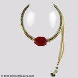 Meenakari Hasli with micro plated Gold and center Red natural Agate 1
