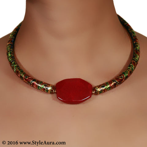 Meenakari Hasli with micro plated Gold and center Red natural Agate 2