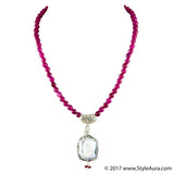 StyleAura - Mother of Pearl necklace in Silver finish drop and Ruby Red Onyx
