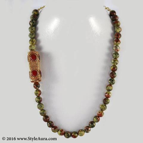 Multi colour shaded Onyx with side Gheru bead with multi colour semi precious stone 1