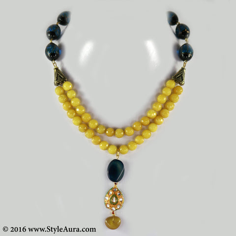 Mustard Yellow Onyx two layer Choker with center Kundan Meenakari and Blue Amber pendant 1