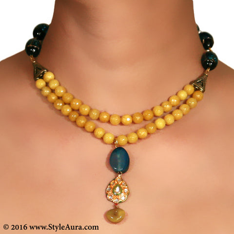 Mustard Yellow Onyx two layer Choker with center Kundan Meenakari and Blue Amber pendant 2