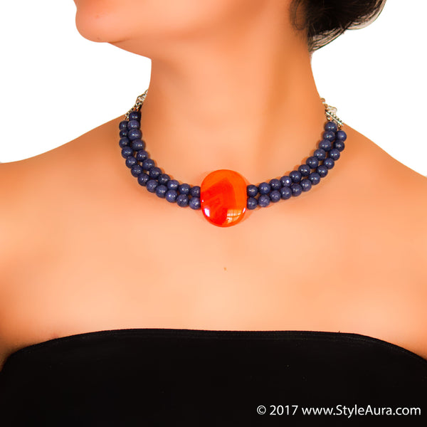 StyleAura - Orange Agate choker with Blue Grey Onyx