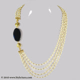 Pearl chain asymmetrical design with Blue Agate and micro plated Gold beads 1