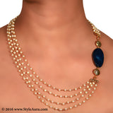 Pearl chain asymmetrical design with Blue Agate and micro plated Gold beads 2