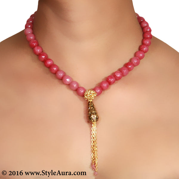 Pink Onyx with Gold mesh and Meenakari pendant with chain finish 2