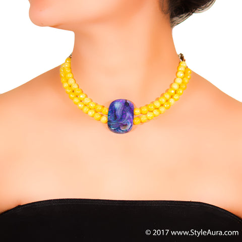 StyleAura - Purple Agate choker with Yellow Onyx