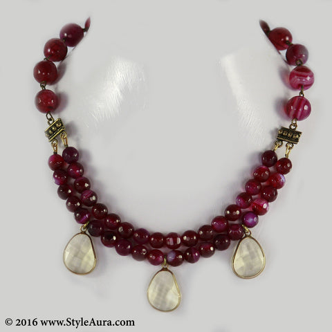 Purple Pink Choker two layer with Citrine drops in Copper finish 1