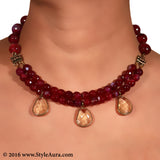 Purple Pink Choker two layer with Citrine drops in Copper finish 2