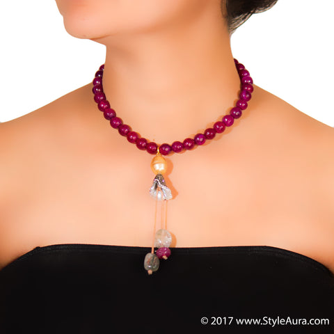 StyleAura - Ruby Red Onyx necklace with Smokey Quartz tassel drops in Cubic Zercon cone and Gold Baroque