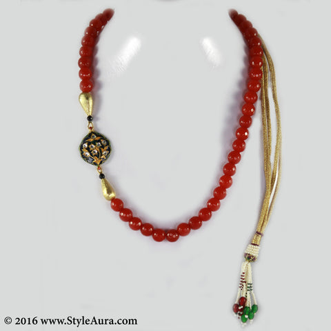 Rust Onyx with side Black and Gold Meenakari and micro plated Gold drops 1